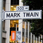 mark twain street sign